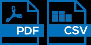 Export as CSV andGenerate as PDF,